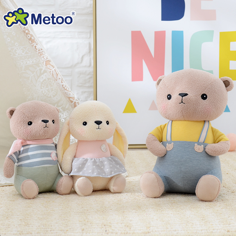 New Baby Kids Girls Cute Plush Toys Sweet Lovely Bear Rabbit Soft Dolls Children Boys Infant Kawaii Stuffed Newborn Gift Metoo 1pc 16cm mini kawaii animal plush toy cute rabbit owl raccoon panda chicken dolls with foam partical kids gift wedding dolls