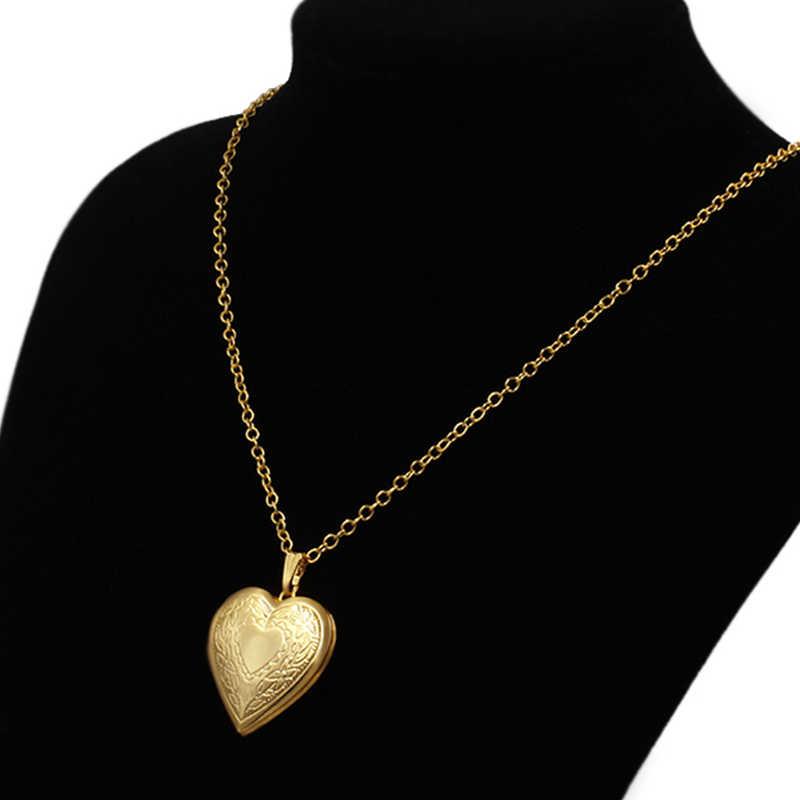 ハートロケットペンダントネックレス女性ゴールドカラーフォトフレームバレンタイン恋人ネックレス 45/66 センチメートルギフトジュエリー