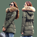 Fashion Parka 2016  Winter Jacket Women Large Real Raccoon Fur Collar Hooded Jacket Thick Coat For Women Outwear Female Parkas
