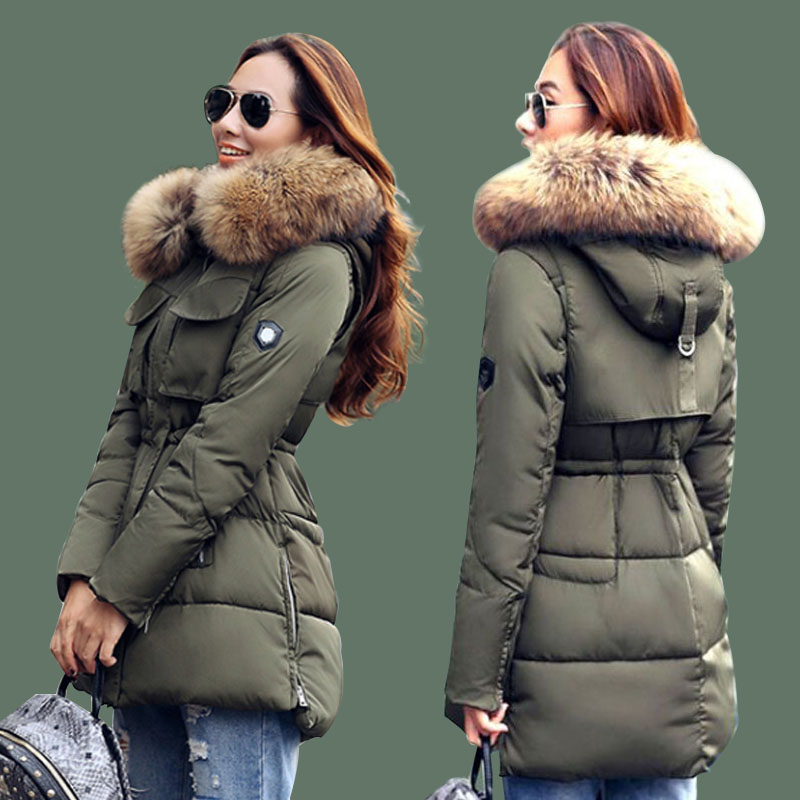 Fashion Parka 2017 Winter Jacket Women Large Real Raccoon Fur Collar Hooded Jacket Thick Coat For Women Outwear Female Parkas new fashion winter jacket women 2017 large real natural raccoon fur collar hooded jacket thick coat for women outwear down parka