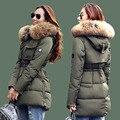 Parka moda 2016 Mulheres Jaqueta de Inverno Grande Guaxinim Verdadeira Gola De Pele Com Capuz Jaqueta Grossa Parkas Casaco Para Mulheres Outwear Feminino