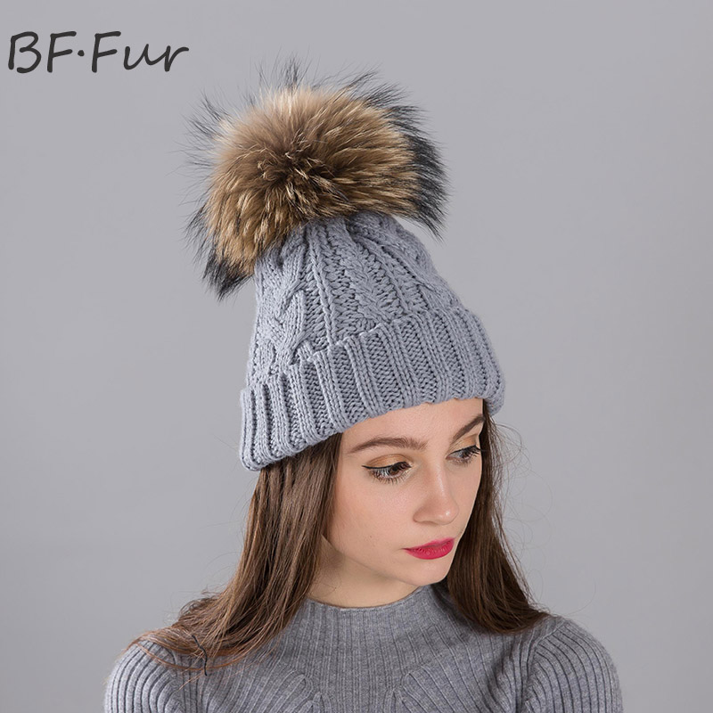 Russian Girls Warm Hat Real Raccoon Fur Beanies Animal PomPom Women Knitted Winter Warm Cap Casual Solid Color Skullies russian phrase book
