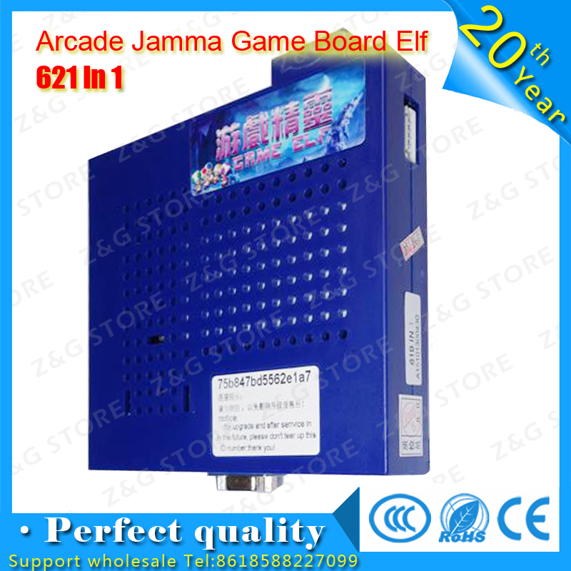 2016Classical Games Game Elf 619 In 1 now updated to 621 in 1 Game Board Jamma PCB for CGA and VGA Horizontal Screen Arcade wms 550 casino game pcb gambling board 8 lines must use touch screen play the game support bill accepter for slot game machine