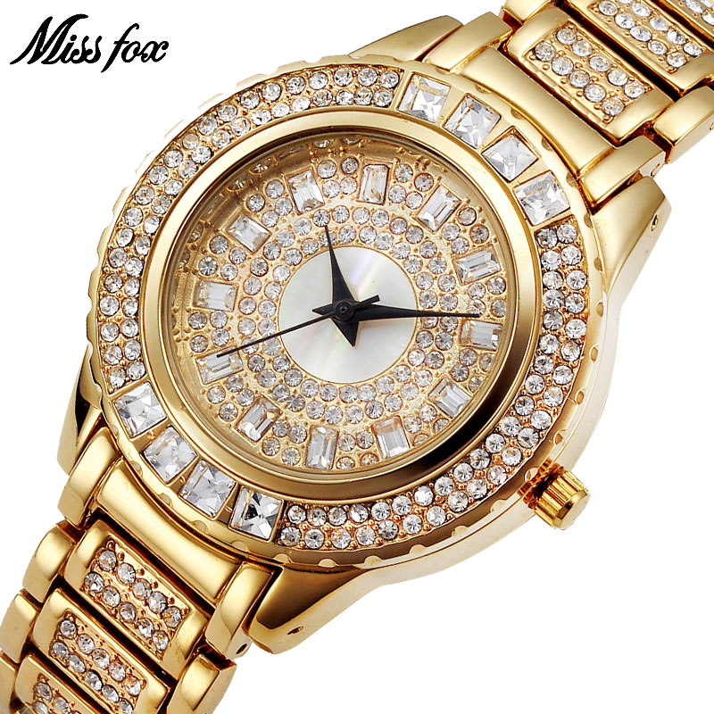 MISSFOX Miss Fox Brand Quartz Watch Naised Luksuslik kuld Naised - Naiste käekellad
