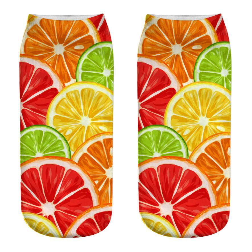 snowshine4 # 4003 Dropship 2019 New Arrival Fashion Socks For Women Cute Casual Cotton Socks 3D Fruits Printing Medium Socks