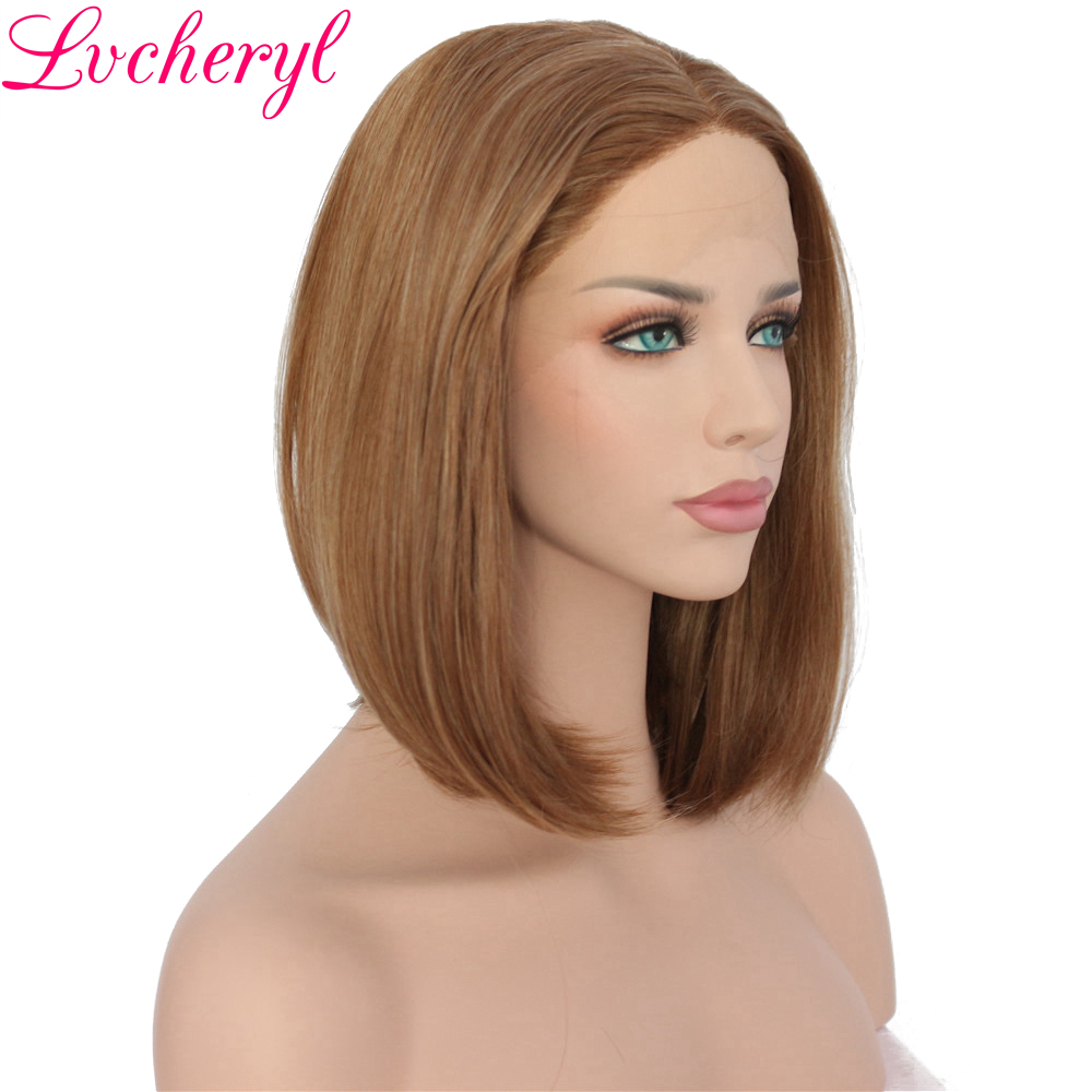 Lvcheryl Hand Tied Mixed Brown Color Short BOB Style Heat Resistant Synthetic Lace Front Wig High Temperature Fiber Women Wigs ...