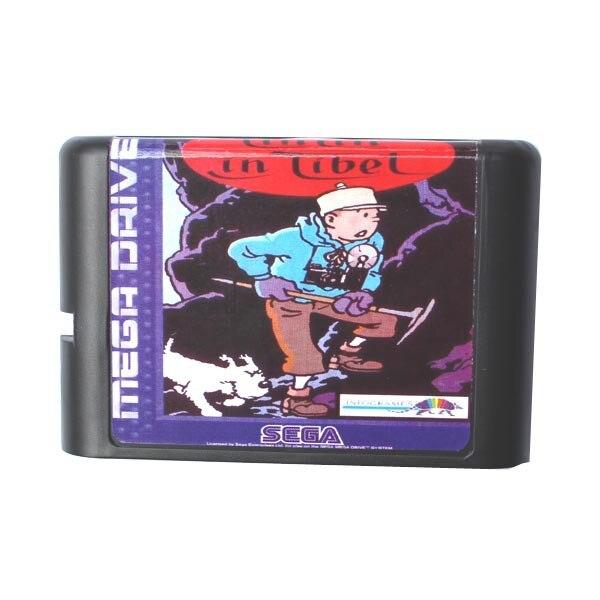 Sega MD game card – Tin Tin In Tibet for 16 bit Sega MD game Cartridge Megadrive Genesis system