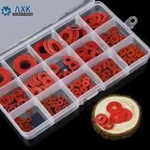 225pcs Flat Pad Insulation Washer Set Red Paper Meson Gasket Spacer Insulating Spacers Assortment Kit M3-M16