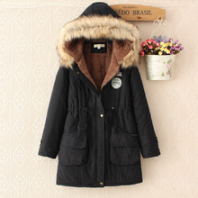 Winter Fur Coat Women Basic Jacket Cotton Long Hooded Ladies