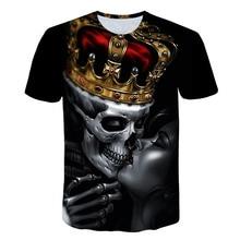 Skull T Shirt Men Black Tshirt Funny Punk Rock Clothes 3D Print T-shirt Hip Hop Mens Clothing Summer Streetwear Casual Tops цены