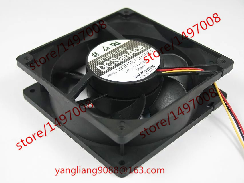 Free Shipping For SANYO 109R1212H1071 DC 12V 0.52A 3-wire 3-pin connector 100mm 120x120x38mm Server Square Cooling Fan