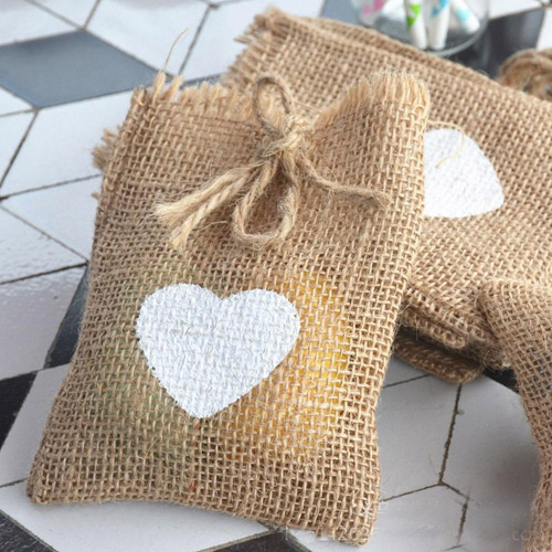 Heart Burlap Gift Bags 10x15cm 4x6 Pack Of 50 Hessian Drawstring Packaging Pouch Rustic Country Wedding Party Favor Holders In Jewelry