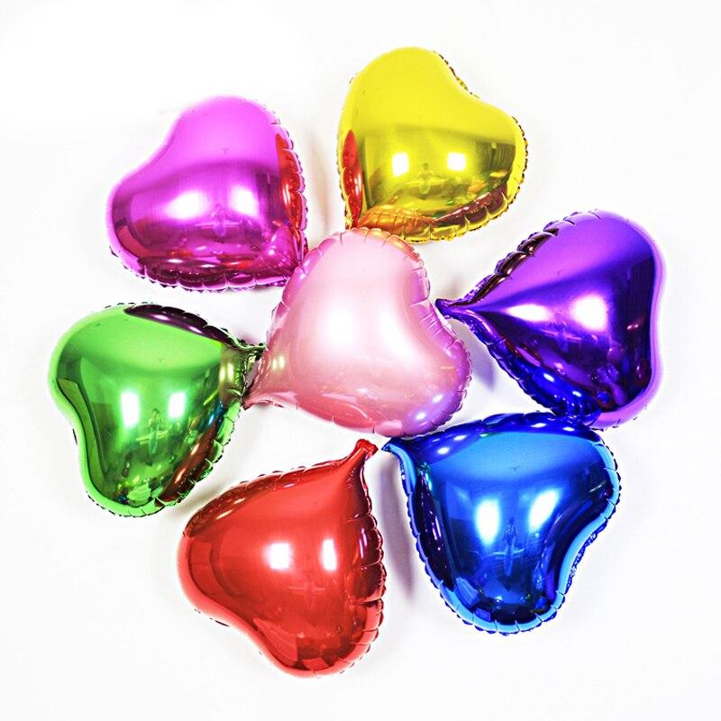 Фольгированные шары 5 шт./лот, 10 дюймов, воздушные шары в форме сердца, большие свадебные шары в форме сердца, украшения для дня рождения, шары