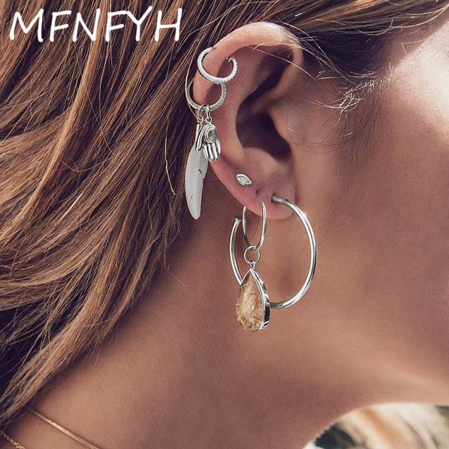 MFNFYH Small Circle Leaf Waterdrop Tassel Hoop Earrings Metal Vintage  Silver Color Geometric Round Earring Set for Women Jewelry afb5276124e6