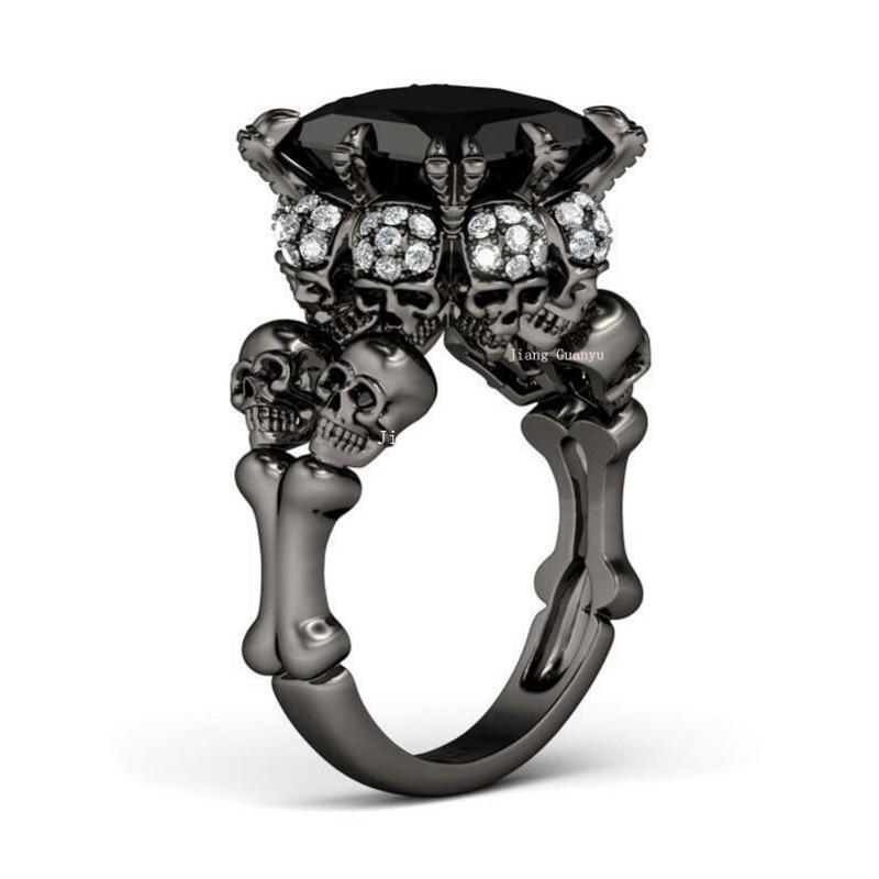 Women S Skull Ring Rhodium Plated Princess Cut 10mm Black