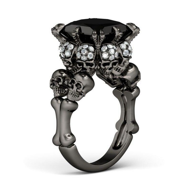 Women s Skull Ring Rhodium Plated Princess cut 10mm Black Zircon Zircon  Women s Wedding Ring Punk Jewelry Size 5-10 6304a47cf4