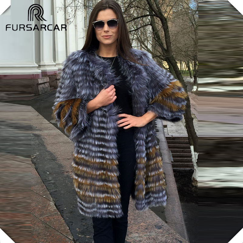 FURSARCA 90 см Длинные Настоящее Silver Fox Шубы Для женщин зимние из натуральной кожи с натуральным лисьим мехом пальто плюс Размеры модные женские ...