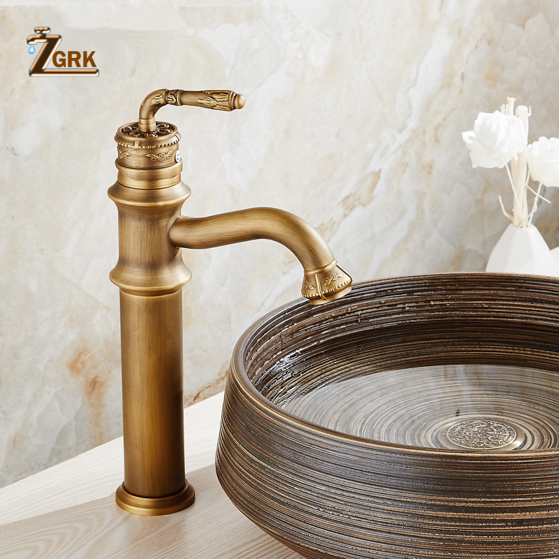 ZGRK Basin Faucets Antique Brass Faucet Bathroom Single Handle Vintage Deck Mount Torneiras Hot Cold Bath