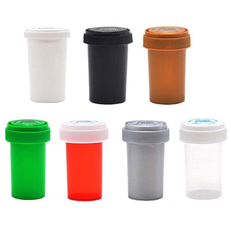 1Pcs 29ML/52ML/75ML/110ML Plastic Push Down Turn Vial Container Weed Storage Stash Jar Pill Bottle Case Herb Box