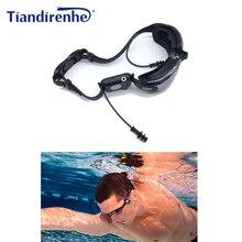 새로운 4g 8 기가 바이트 ipx8 다이빙 수영 mp3 방수 플레이어 이어폰 수중 서핑 스포츠 수영 미니 헤드셋 fm 라디오 캡 안경