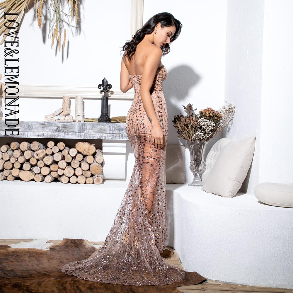 Love&Lemonade Sexy Gold Strapless Cut Out Geometric Element Glitter Glued Material Bodycon Maxi Dress LM81530