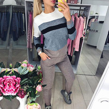 2019 Block Color Women Sweater suits Knitted Woman Set Multicolor Striped pullovers & pant 2 piece Sets Womens Tracksuit color block striped tee