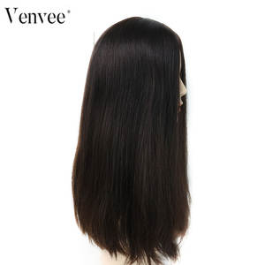 Venvee Wig Human-Hair-Wigs Jewish European Straight Base Silk Kosher Lace-Front Double-Drawn