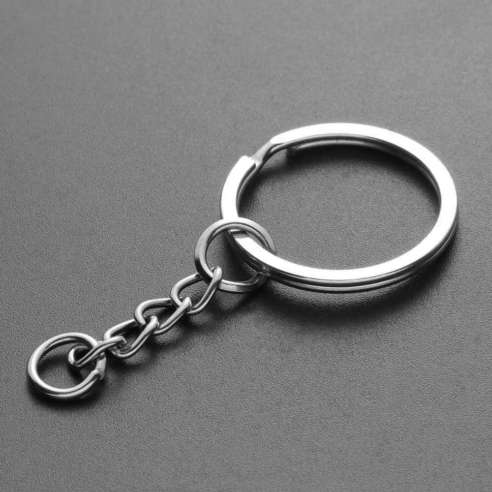 10 Pcs 25 milímetros Polido Cor Prata Chaveiro Chaveiro Cadeia Curta Dividir Anel Chave Anéis DIY Acessórios Chave Cadeias