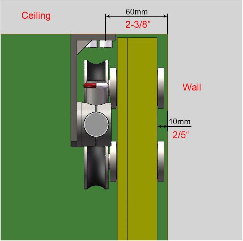 DIYHD Ceiling mount bracket brushed stainless steel sliding barn door hardware