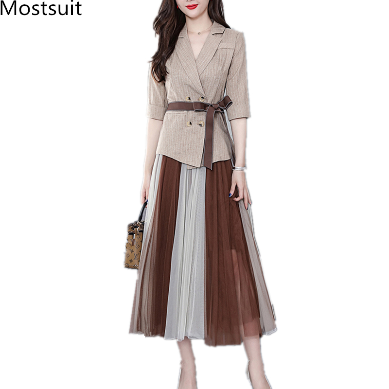 2019 Two Piece Sets Outfits Women Office Suit With Belt And Pleated Skirt Suits Vintage Korean Ladies 2 Piece Sets Femme 31