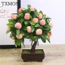 Artificial Plants Bonsai Orange Peach Fruit Tree Potted For Home Living Room Decoration Flower Set Shop Hotel Party Decor