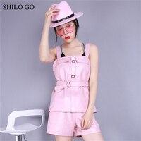 SHILO GO Leather Blouse Womens Summer Fashion sheepskin genuine leather Blouse spaghetti strap single breasted belt pink blouse
