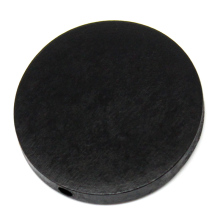 150Pcs Black Wood Spacer Beads Flat Round Charms Wooden 30mm(1 1/8) Dia.