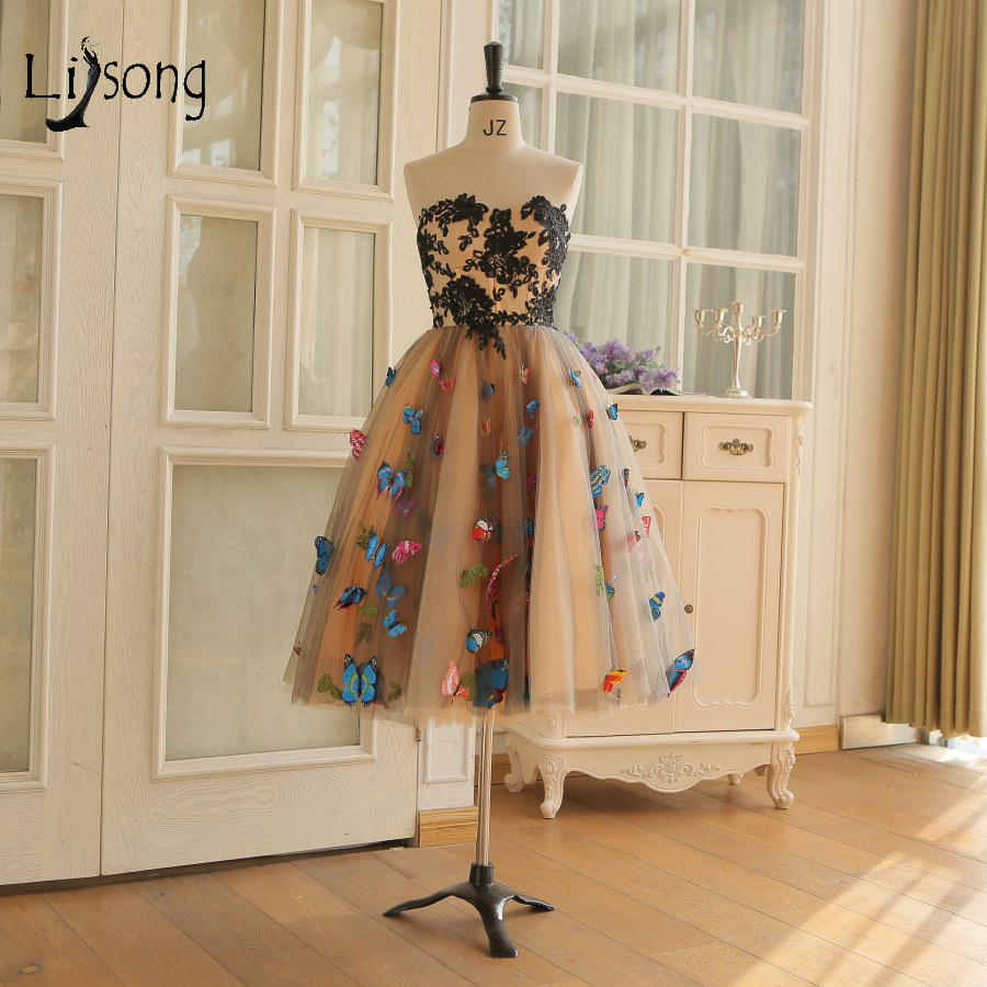 Prairie Chic Colored 3D Butterfly Cocktail Dresses 2018 Knee Length Formal Party Dresses Lace Appliques Dress