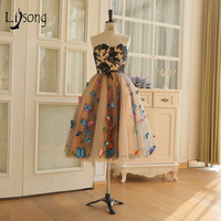 Prairie Chic Colored 3D Butterfly Cocktail Dresses 2018 Knee Length Formal Party Dresses Lace Appliques Dress For Graduation