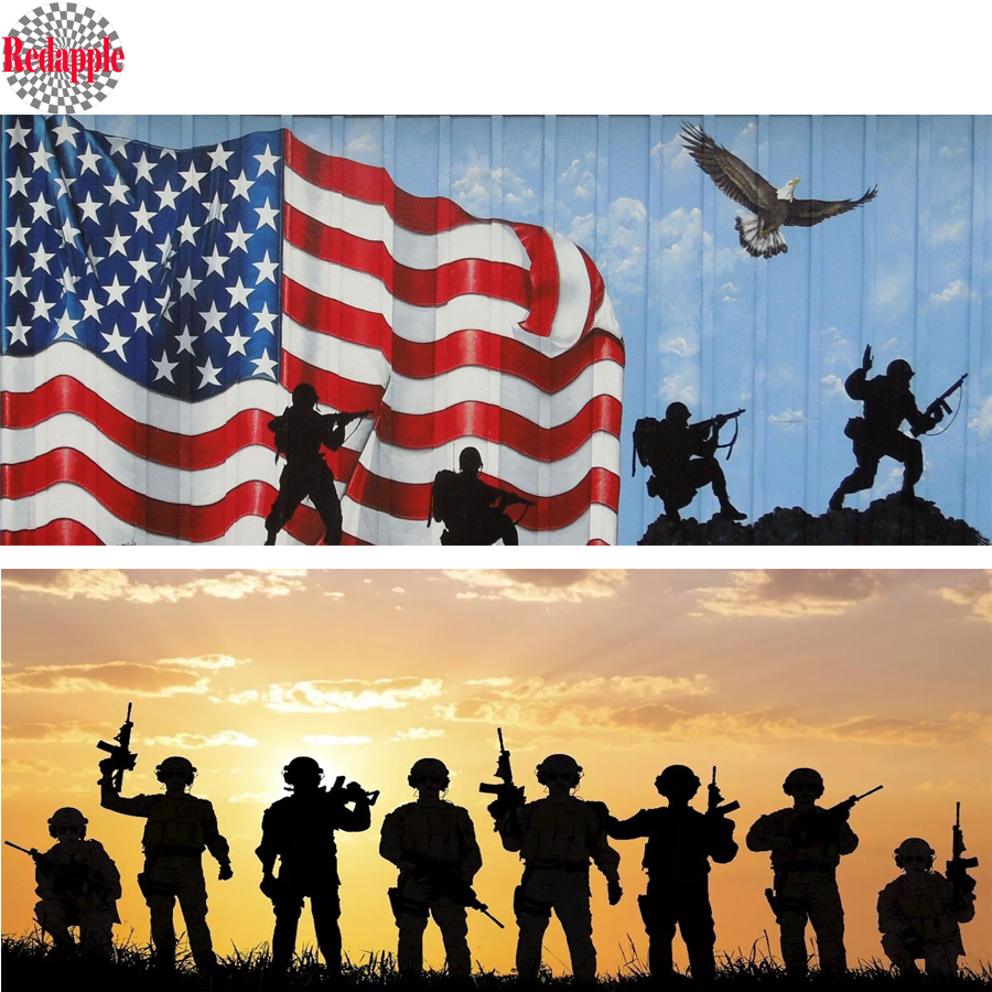5D Diamond Painting Soldiers Under American Flag Kit