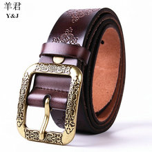 2017 womens Leisure time 105cm length Genuine cowhide Retro All-match fashion casualPin buckle Comfortable Perfect Waist gg belt(China (Mainland))