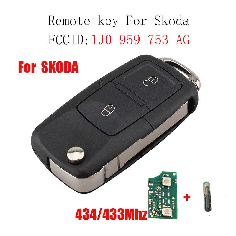 434 Mhz clé à distance ID48 puce pour SKODA Fabia Superb Octavia I 2002-2007 pour SKODA 1J0959753AG 1JO 959 753 AG clé d'origine