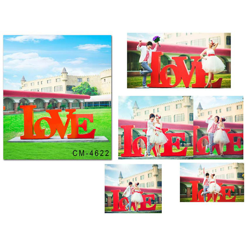 Wedding Photo Background Tree Castle Photo Booth Backdrops Red Love Green Grass Wedding  Background for Photographic Studio