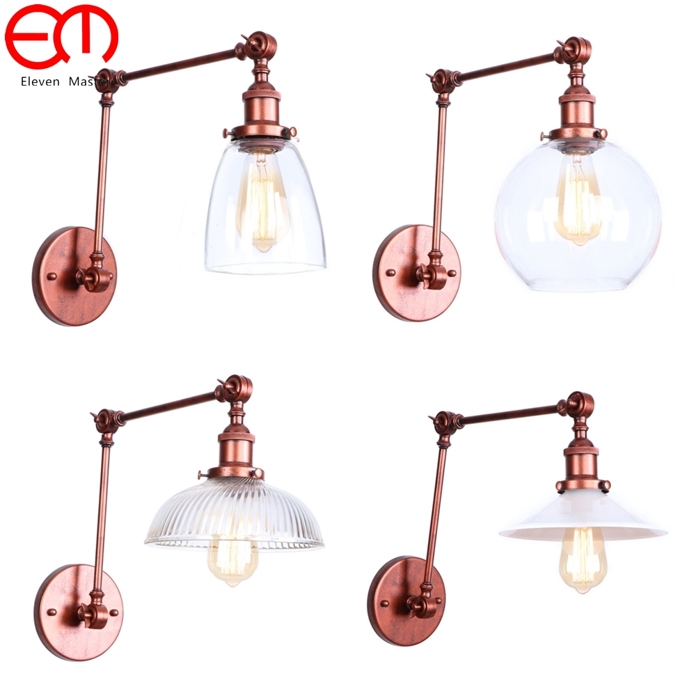 Rusty Long arm rocker Retro Loft LED Wall light Wall Sconces Light E27 Industrial Vintage Aluminum Glass wall Lamp ZBD0131