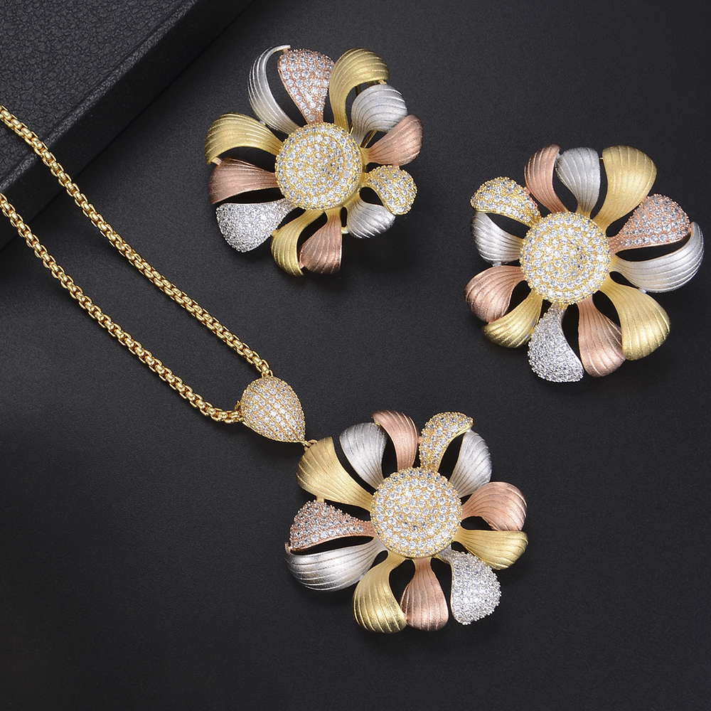 Luxury Flower Shape Necklace Earrings Full Micro Cubic Zirconia For Women Wedding chic ellipse shape faux gem flower earrings for women
