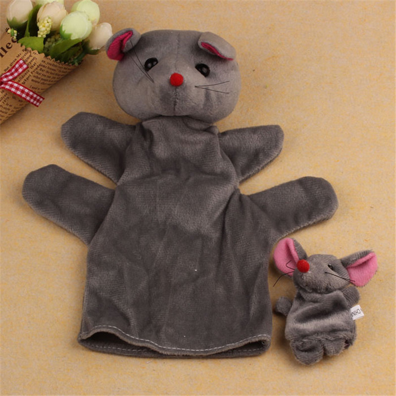 HOT 2Pcs Mouse Soft Animal Finger Puppet Baby Infant Kid Toy Plush Toys Finger Puppet #10