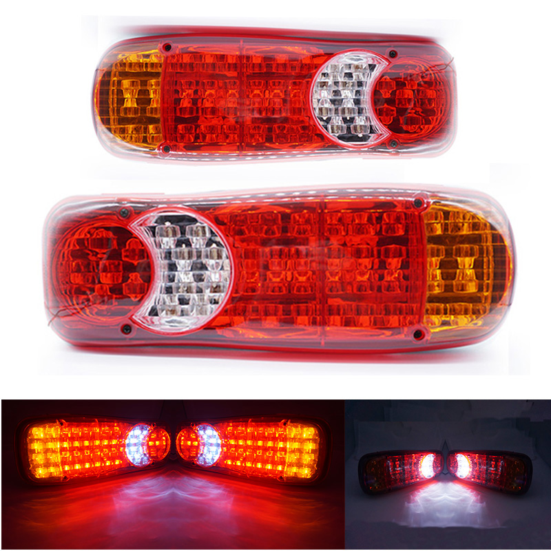 1 Pair 12V LED Rear Tail Lights Lamp 5 Function Tipper Van Teuck Recovery 46 LED Cars Parts Marker Lights