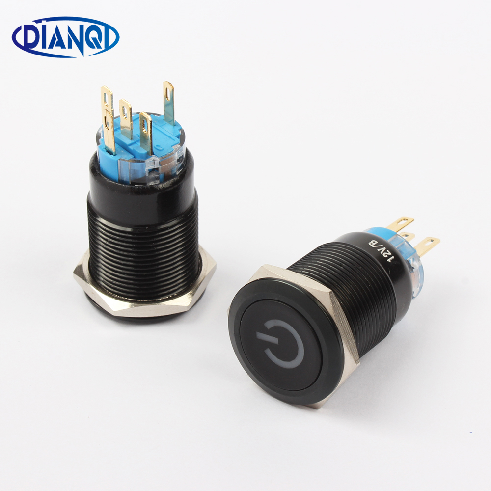 цена 19mm Metal Alumina black press button Led power mark lamp button latching control switch self-lock PushButton Switch 19DY.S.BK