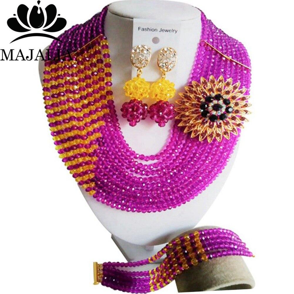 ᐂ2017 Moda Africana cuentas de joyería conjunto cristal púrpura ...