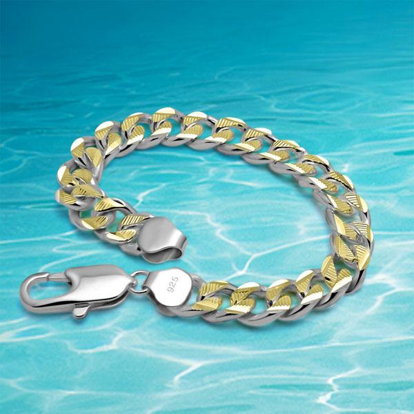 Homens pulseira de prata 925 jóias de prata pulseira homens genuínos sólido pulseira de prata, 24 k chapeamento de ouro. Caráter legal