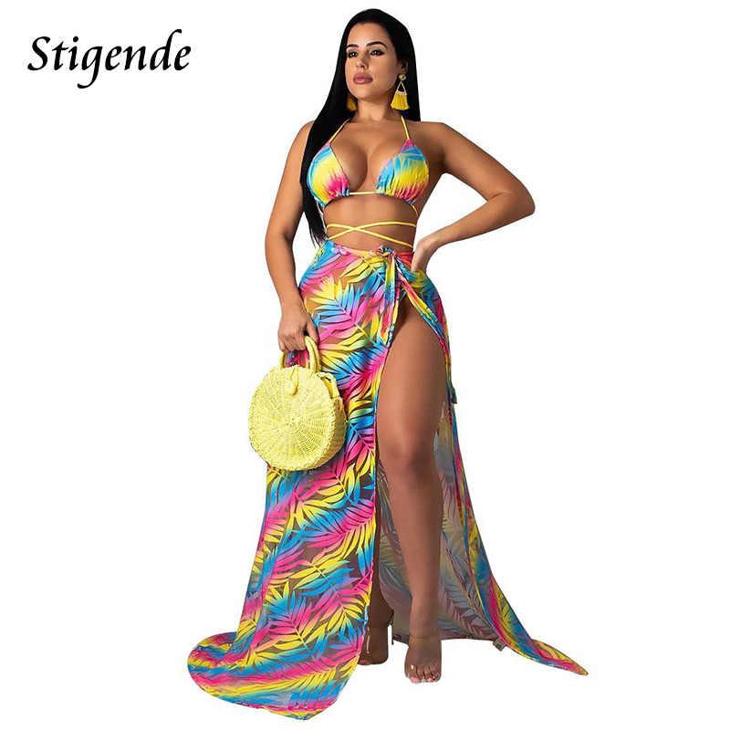 Stigende קיץ סקסי 3 חתיכה סט וחוף נשים הדפסת שלוש חתיכה להגדיר חוף כיסוי שמלה לראות דרך יבול למעלה ו חצאית סט