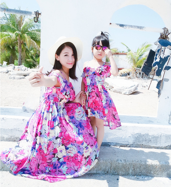 508c113376 Irregular Mother Daughter Dresses Matching Summer Clothes 2019 Family Look  Girl and Mother Dress Chiffon Beach Dresses Outfits