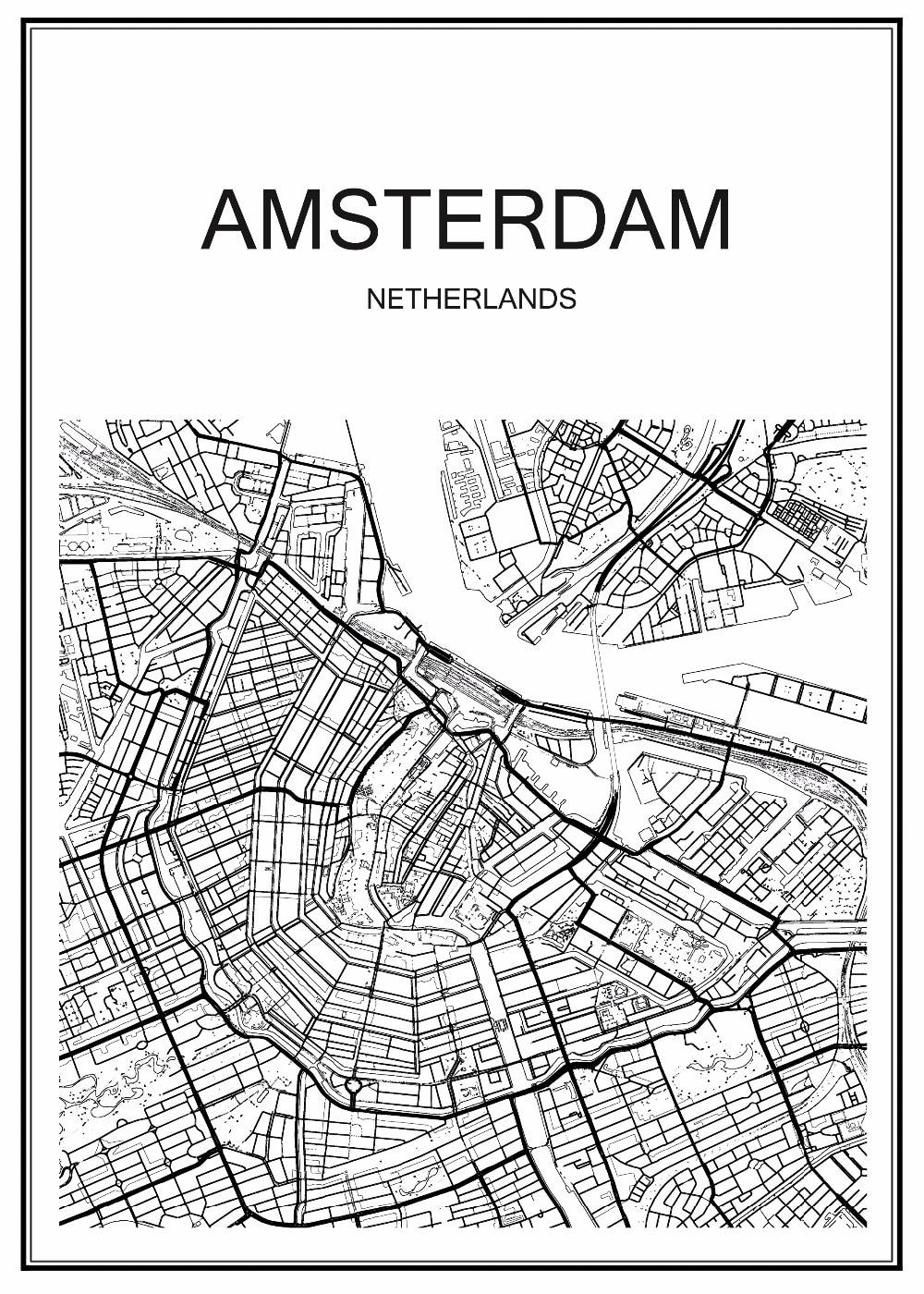 Venta Caliente Blanco Mapa De La Ciudad Amsterdam Kraft Papel Retro Vintage Cartel Poster Inicio