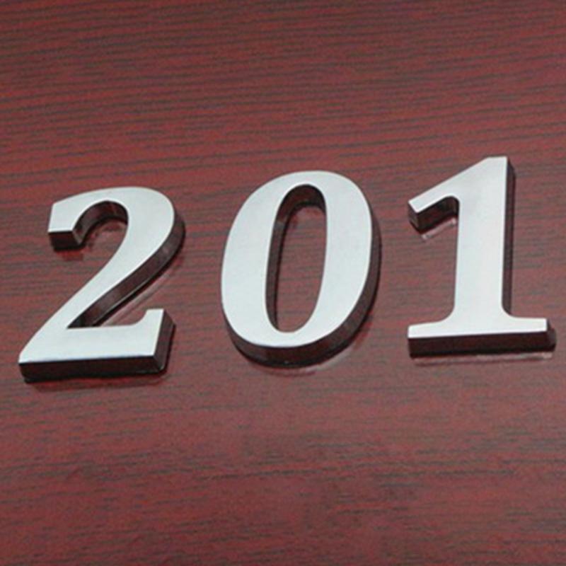 Wide Stainless Steel 2-digit House Number Numeral Plaque